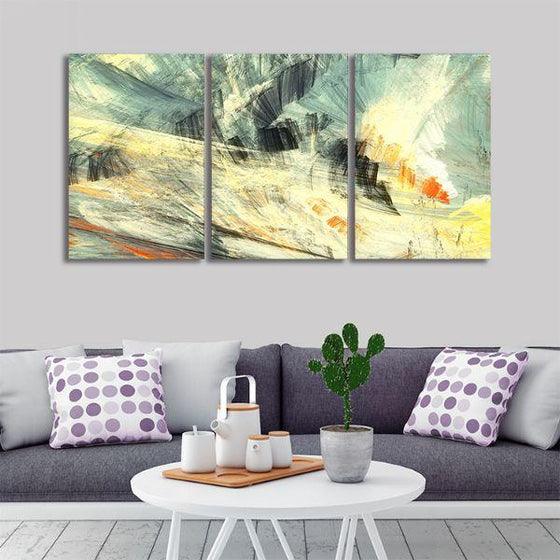 Abstract Mix Colors 3 Panels Canvas Wall Art Living Room