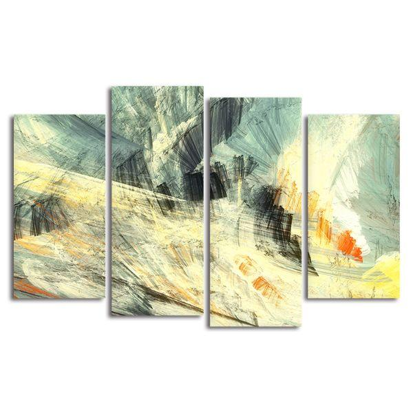 Abstract Mix Colors 4 Panels Canvas Art