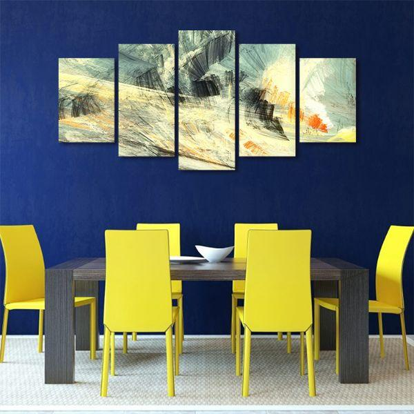 Abstract Mix Colors 5 Panels Canvas Art