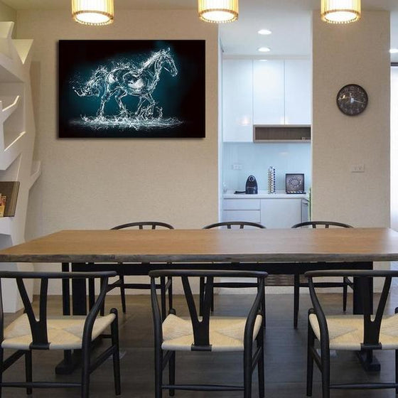 Abstract Wild Horse Canvas Wall Art Dining Room