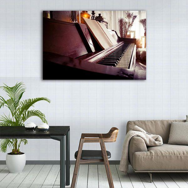 Acoustic Piano Canvas Wall Art Dining Room