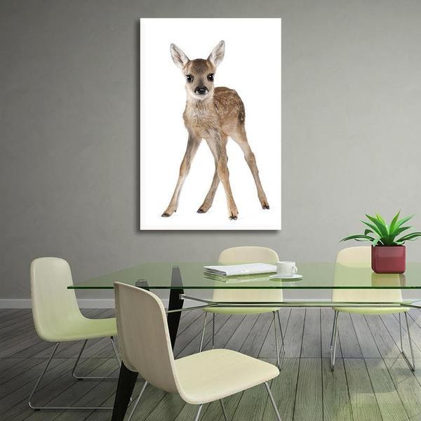 Adorable Doe Canvas Wall Art Dining Room