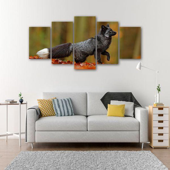 Adorable Wild Black Fox 5 Panel Canvas Wall Art Living Room