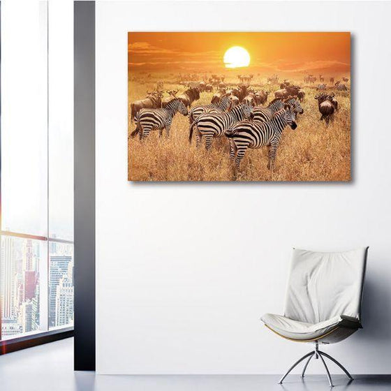 African Zebras 1 Panel Canvas Wall Art Decor