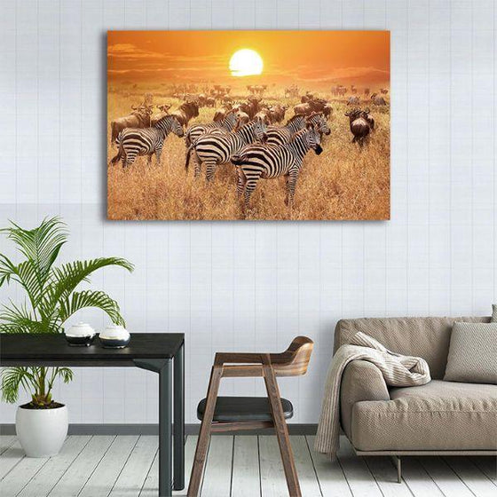 African Zebras 1 Panel Canvas Wall Art Kitchen