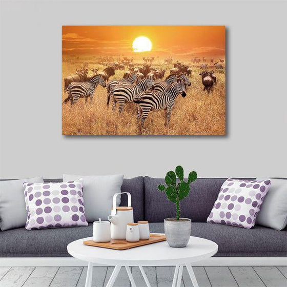 African Zebras 1 Panel Canvas Wall Art Living Room