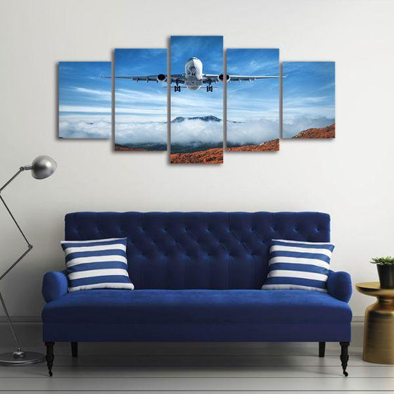 Airplane & Mountains 5 Panels Canvas Wall Art Decor