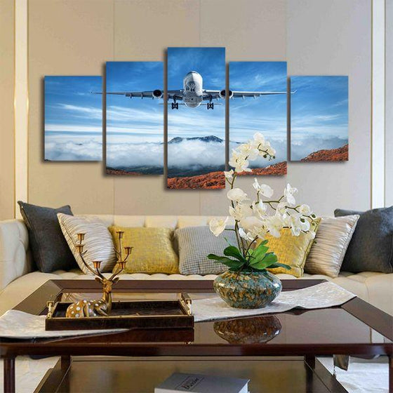 Airplane & Mountains 5 Panels Canvas Wall Art Living Room