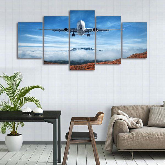Airplane & Mountains 5 Panels Canvas Wall Art Prints