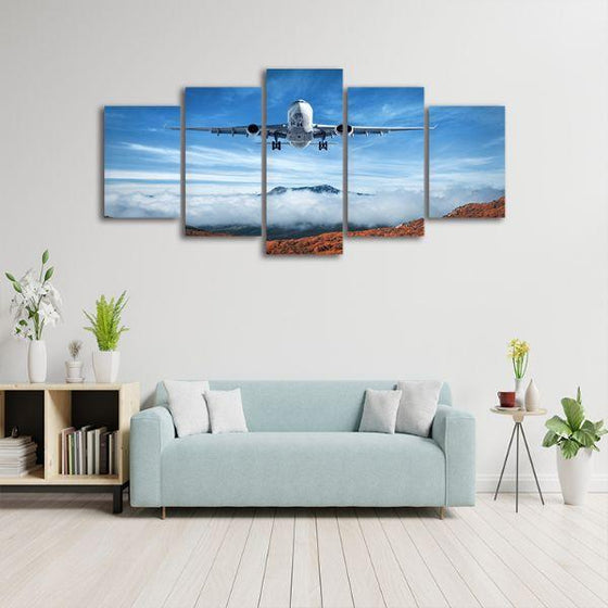 Airplane & Mountains 5 Panels Canvas Wall Art Set