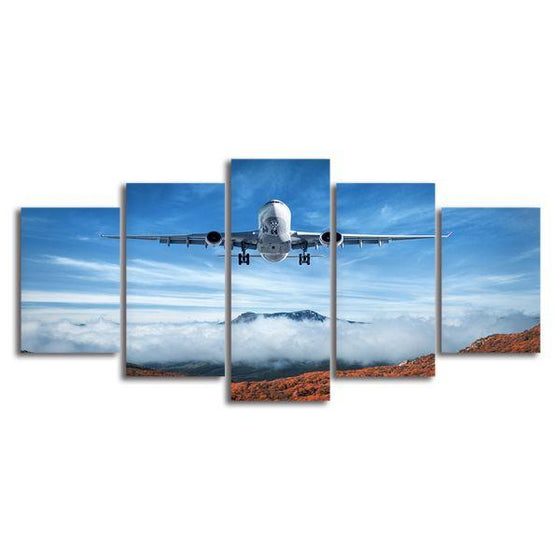 Airplane & Mountains 5 Panels Canvas Wall Art