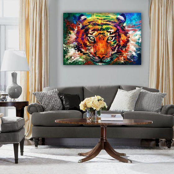 Alluring Colorful Tiger Canvas Wall Art Decor