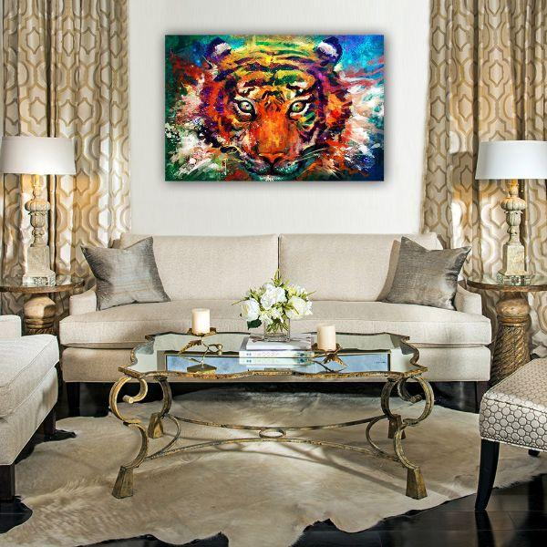 Alluring Colorful Tiger Canvas Wall Art Decors
