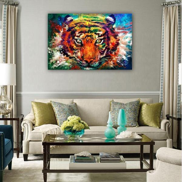 Alluring Colorful Tiger Canvas Wall Art Ideas