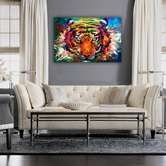 Alluring Colorful Tiger Canvas Wall Art Living Room