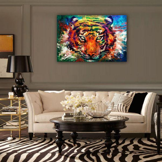 Alluring Colorful Tiger Canvas Wall Art Print