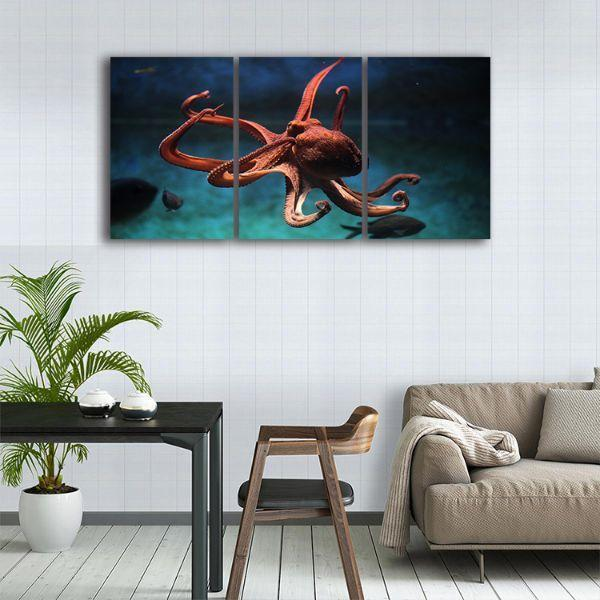 Amazing Octopus Canvas Wall Art 3 Panels