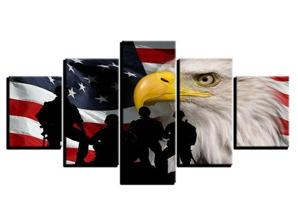 American Flag Wall Art Wood Canvases