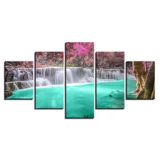 Pink Trees & Waterfall Canvas Wall Art
