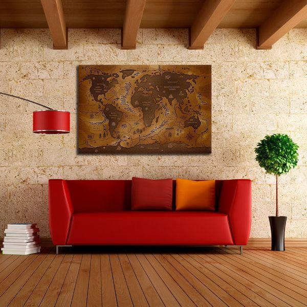 Antique World Map Canvas Wall Art Decor