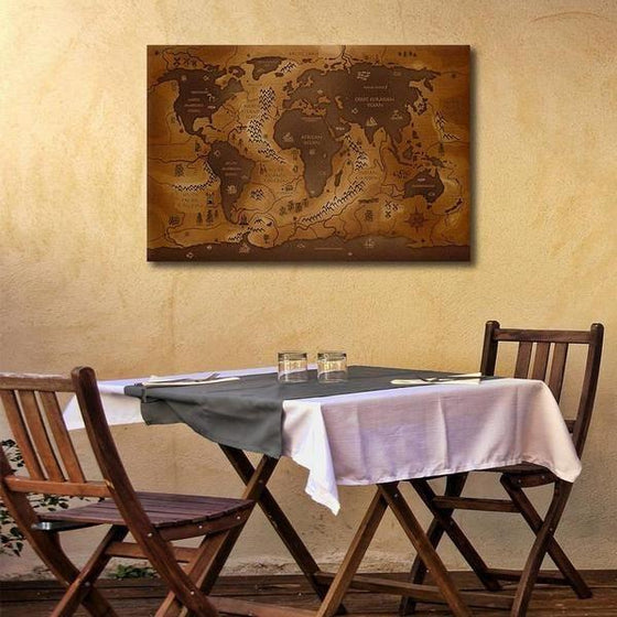 Antique World Map Canvas Wall Art Dining Room