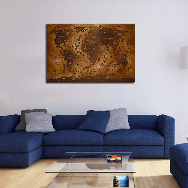 Antique World Map Canvas Wall Art Ideas