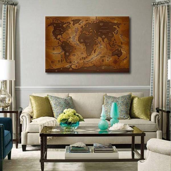 Antique World Map Canvas Wall Art Living Room