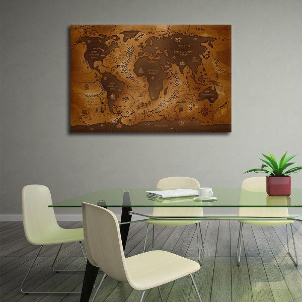 Antique World Map Canvas Wall Art Print