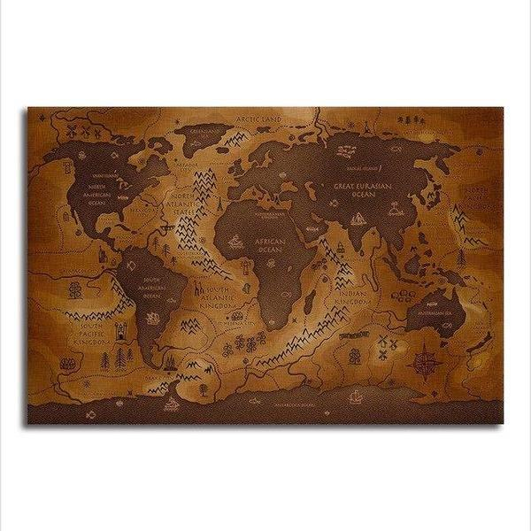 Antique World Map Canvas Wall Art | Brown Old Map Prints – canvasx.net