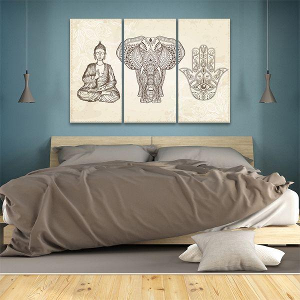 Arabic & Jewish Amulets 3 Panels Canvas Wall Art Bedroom