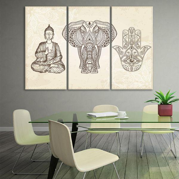 Arabic & Jewish Amulets 3 Panels Canvas Wall Art Set