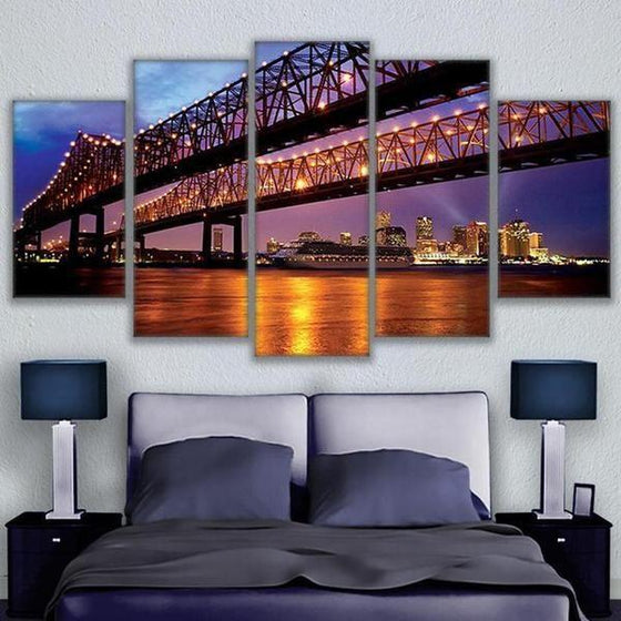 Crescent City Connection Bridge Canvas Wall Art Bedroom