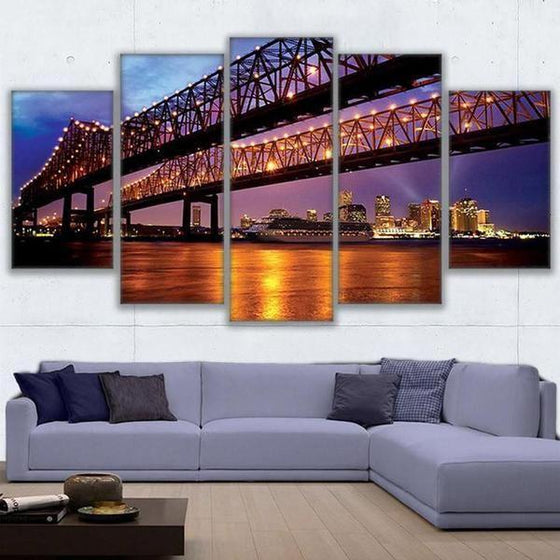 Crescent City Connection Bridge Canvas Wall Art Home Decor