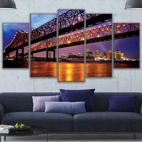 Crescent City Connection Bridge Canvas Wall Art Living Room
