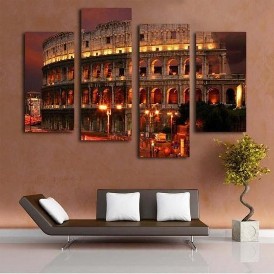 Flavian Amphitheatre At Night Canvas Wall Art Home Decor