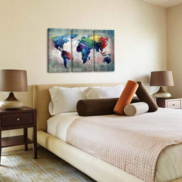Artistic World Map Canvas Wall Art Bedroom