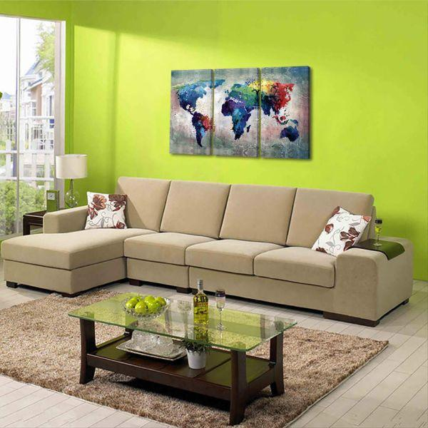 Artistic World Map Canvas Wall Art Living Room