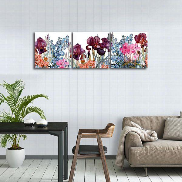 Assorted Colorful Flowers 3 Panels Canvas Wall Art Dining Room