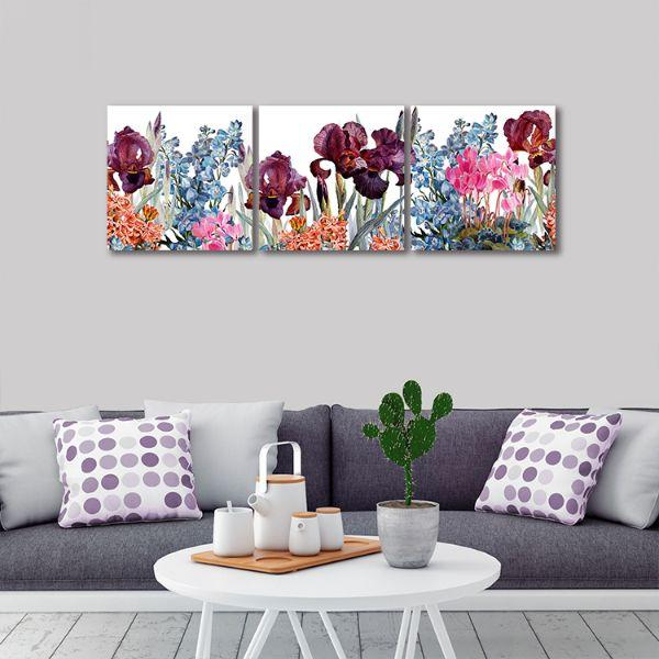 Assorted Colorful Flowers 3 Panels Canvas Wall Art Living Room
