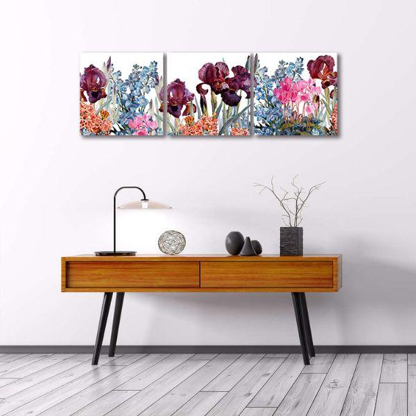 Assorted Colorful Flowers 3 Panels Canvas Wall Art Decor
