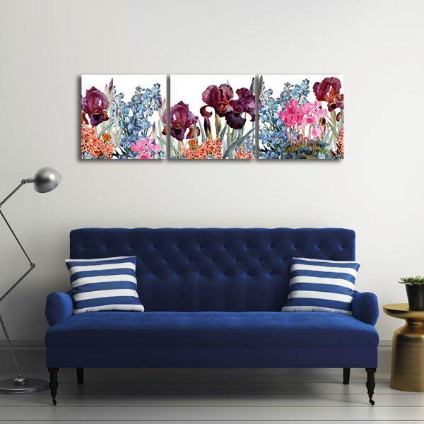 Assorted Colorful Flowers 3 Panels Canvas Wall Art Office