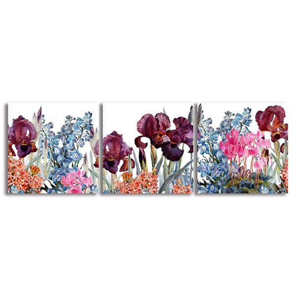 Assorted Colorful Flowers 3 Panels Canvas Wall Art
