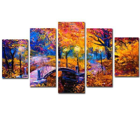 Bridge In The Woods Canvas Wall Art Prints
