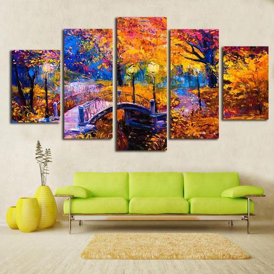 Bridge In The Woods Canvas Wall Art Living Room