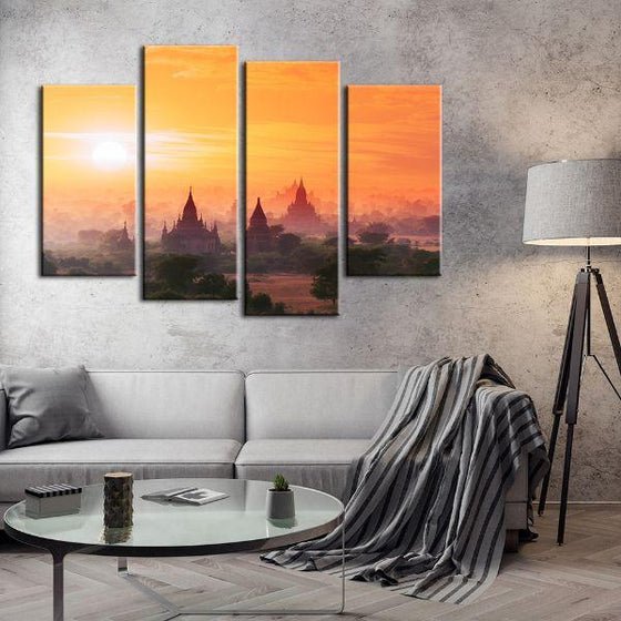 Bagan Historical Site 4 Panels Canvas Wall Art Living Room