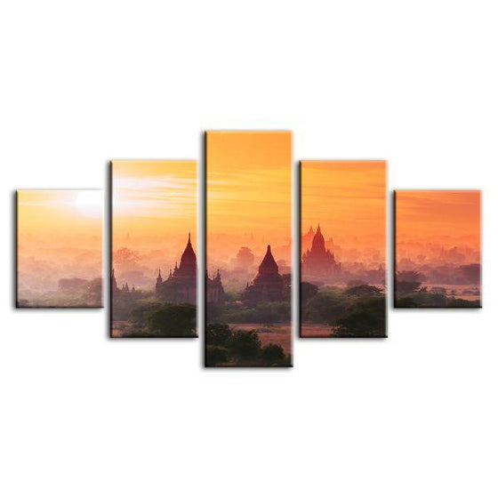 Bagan Historical Site 5 Panels Canvas Wall Art
