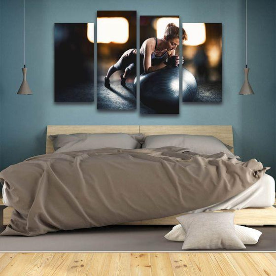 Lady Fitness Inspiration 4 Panels Canvas Wall Art Bedroom