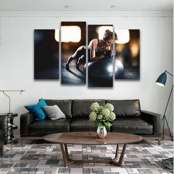 Lady Fitness Inspiration 4 Panels Canvas Wall Art Decor