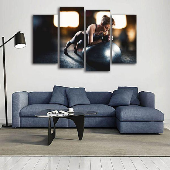 Lady Fitness Inspiration 4 Panels Canvas Wall Art Ideas