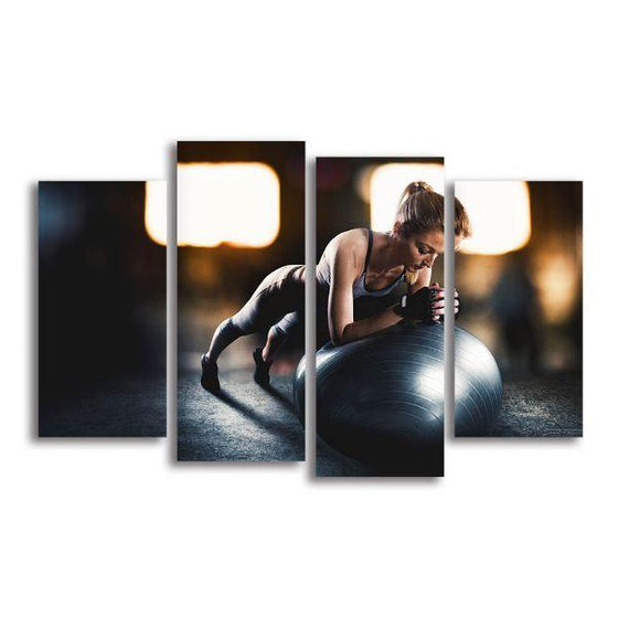 Lady Fitness Inspiration 4 Panels Canvas Wall Art